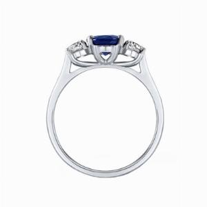 Oval Sapphire & Round Brilliant Cut Diamond Three Stone Engagement Ring - 1.50ct